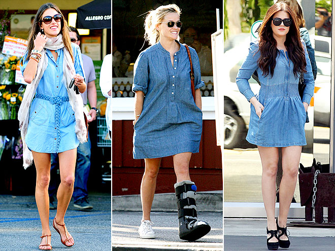 DENIM SHIRTDRESSES photo | Alessandra Ambrosio, Khloe Kardashian, Reese Witherspoon