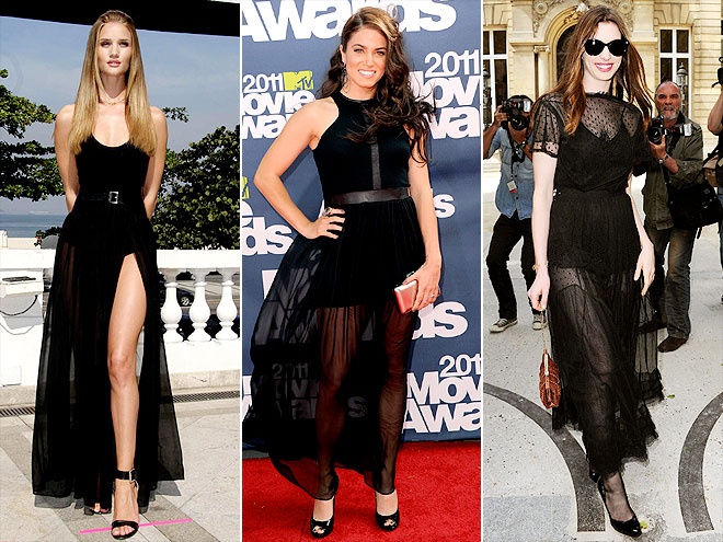 SHEER BLACK GOWNS photo | Anne Hathaway, Nikki Reed, Rosie Huntington-Whiteley