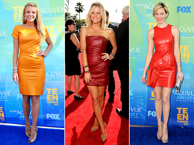 CITRUS-HUED LEATHER DRESSES photo | Blake Lively, Brooklyn Decker, Elizabeth Banks