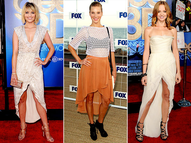 CROSSOVER HEMLINES photo | Dianna Agron, Heather Morris, Jayma Mays