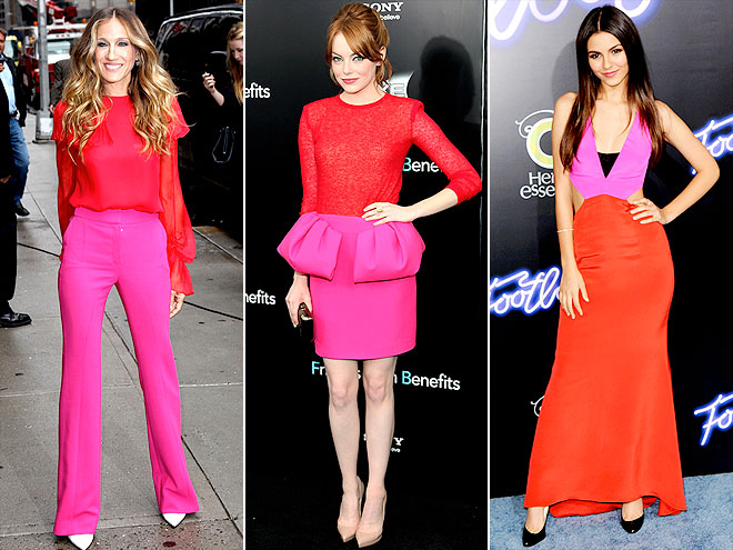 RED-AND-PINK COLORBLOCKING photo | Sarah Jessica Parker, Emma Stone