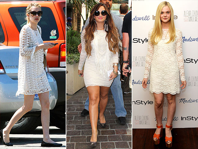 CROCHETED WHITE MINIS photo | Demi Lovato, Elle Fanning, Emma Roberts