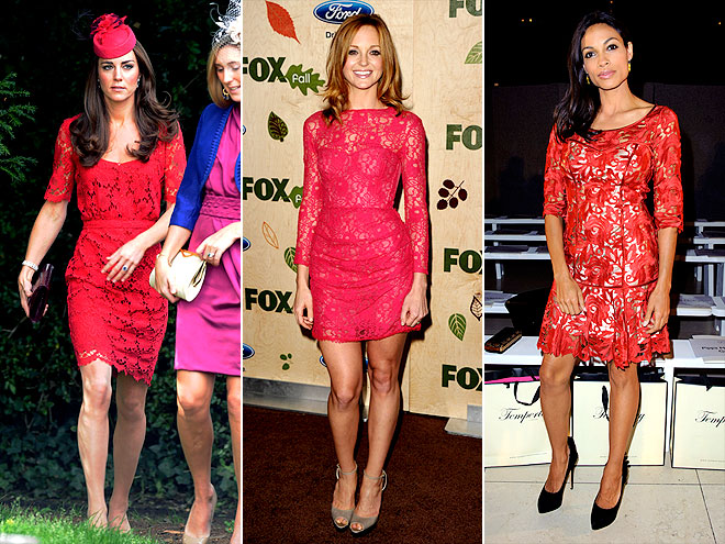 LACY RED DRESSES photo | Jayma Mays, Kate Middleton, Rosario Dawson