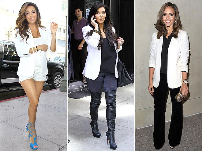 WHITE BLAZERS photo | Eva Longoria, Jessica Alba, Kim Kardashian