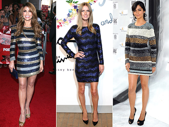 SEQUINED STRIPED MINIS photo | Camila Alves, Nicky Hilton, Paula Abdul