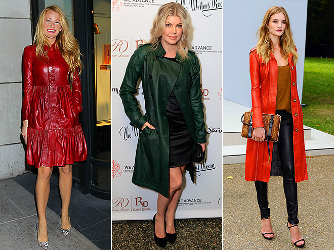COLORFUL LEATHER TRENCHES  photo | Blake Lively, Fergie, Rosie Huntington-Whiteley