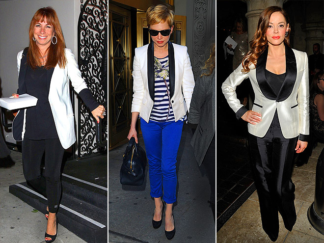 BLACK-LAPEL WHITE BLAZERS photo | Jill Zarin, Michelle Williams, Rose McGowan