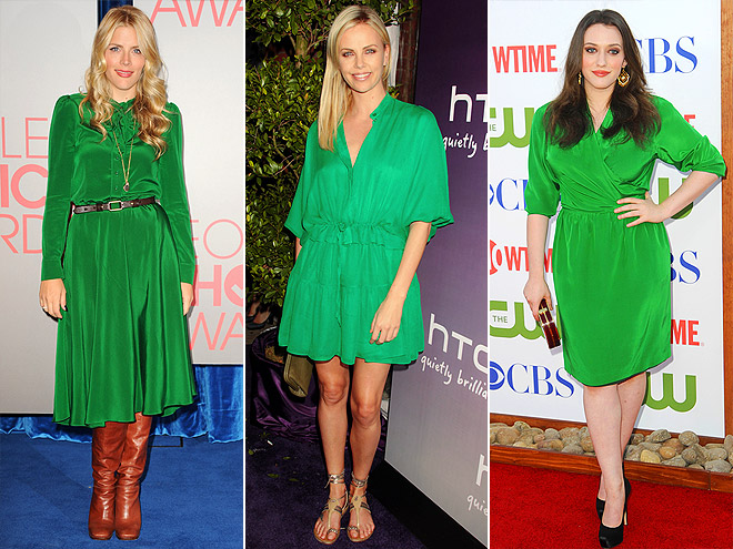 EMERALD SHIRTDRESSES photo | Busy Philipps, Charlize Theron, Kat Dennings