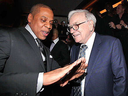 New Dad Jay-Z Giddy at 40/40 Club Re-Opening | Jay-Z, Warren Buffett