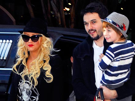 Christina Aguilera Dines on Caviar with Her Son and Boyfriend