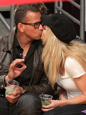 Alex Rodriguez & Torrie Wilson Smooch at Lakers Game
