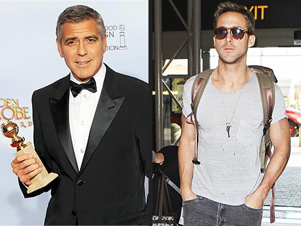 Golden Globes Winner George Clooney for Descendants on Ryan Gosling
