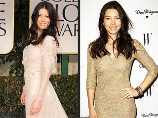 Jessica Biel Wears Lots of Bling But No Engagement Ring at Globes