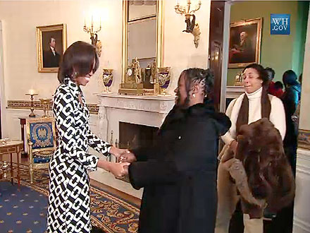 Michelle Obama Surprises White House Tour Group with Hugs