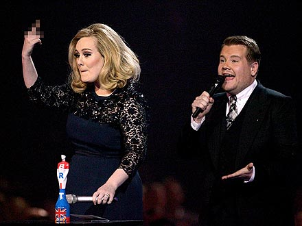 Adele Flips Off Producers at Brit Awards