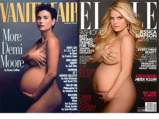 Jessica Simpson Pregnant & Naked Picture for Elle vs. Demi Moore Pose