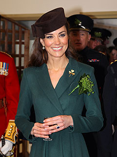 Kate Hands Out Shamrocks to the Irish Guards