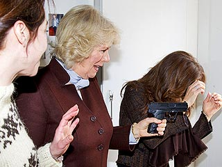 PHOTO: Duchess of Cornwall Pulls a Gun on Danish TV Set | Camilla Parker Bowles