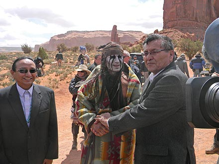 Johnny Depp Receives Gifts from 'Star Struck' Navajo Visitors| The Lone Ranger, Good Deeds, Movie News, Armie Hammer, Johnny Depp