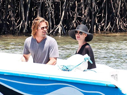 Brad Pitt and Angelina Jolie Go Boating in the Galápagos Islands