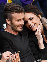 David Beckham Gets a Birthday Cuddle from Victoria at Lakers Game | David Beckham, Victoria Beckham