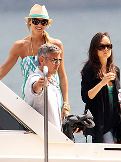 PHOTOS: George Clooney, Stacy Keibler Go Boating on Lake Como