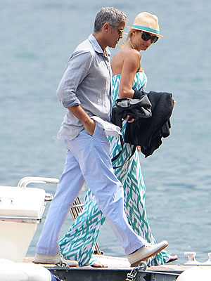 George Clooney & Stacy Keibler Vacation in Italy| George Clooney, Stacy Keibler