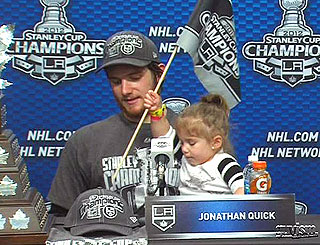 L.A. Kings' Jonathan Quick's Daughter 'Loves Watching' Dad Play Hockey