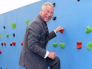 PHOTO: Prince Charles Attempts to Climb a Wall | Prince Charles