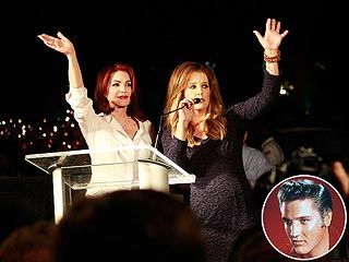 Priscilla & Lisa Marie Presley Attend Vigil 35 Years After Elvis's Death | Lisa Marie Presley, Priscilla Presley
