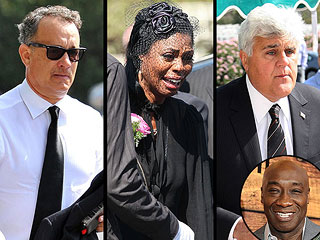 Jay Leno Delivers Tearful Speech at Michael Clarke Duncan&#39;s Funeral | Jay Leno, Omarosa Manigault-Stallworth, Tom Hanks