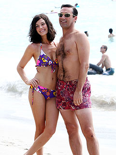 Jon Hamm & Jessica Paré Flaunt Beach Bodies Filming Mad Men in Hawaii | Jessica Pare, Jon Hamm
