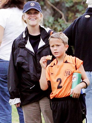 Reese Witherspoon Takes Her Son to a Soccer Game
