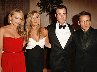 Inside Jennifer Aniston & Justin Theroux's Funny Night Out | Ben Stiller, Christine Taylor, Jennifer Aniston, Justin Theroux