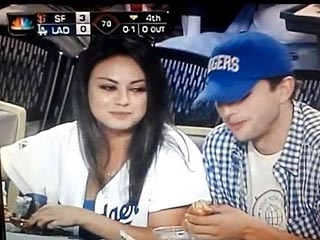 PHOTO: Ashton & Mila Cozy Up at a Baseball Game | Ashton Kutcher, Mila Kunis