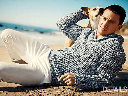 Channing Tatum and Dog Lulu in Details Magazine
