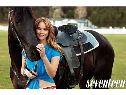 Jennifer Lawrence Seventeen Magazine Poses with Horses