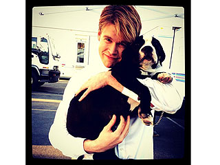 Cuddle Alert! Chord Overstreet Hugs a Puppy