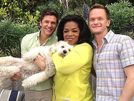 Oprah Winfrey with Neil Patrick Harris, David Burtka and Dog: Photo