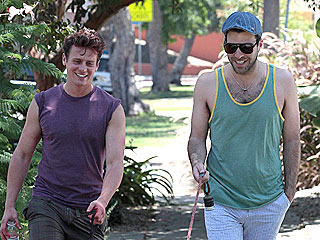 Doggy Date! Zachary Quinto & Jonathan Groff Take a Stroll | Jonathan Groff, Zachary Quinto