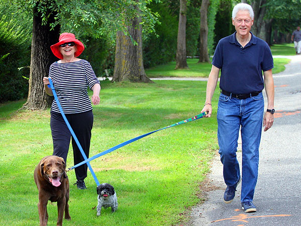 Hillary Clinton, Husband Bill Walk Dogs: Photo