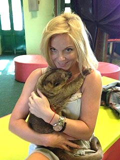 Russell Who? Geri Halliwell Cuddles Up to a Kinkajou | Geri Halliwell