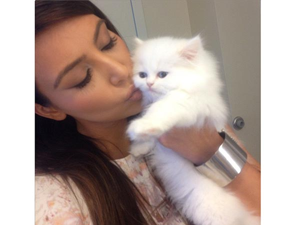 Kim Kardashian Kissing Cat Mercy: Photo