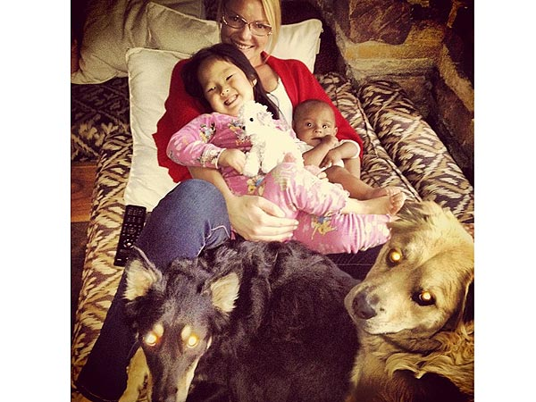 Katherine Heigl's Daughter Gives Dog a Belly Rub| Stars and Pets, Dogs, Katherine Heigl