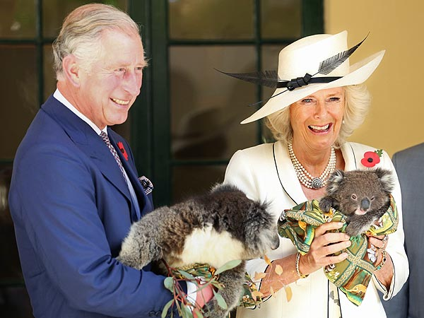 Charles and Camilla Hold Koalas in Australia