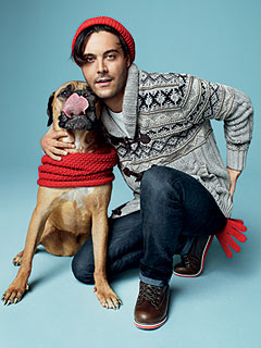 Boardwalk Empire's Jack Huston & His Dog Strike a Holiday Pose