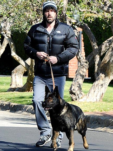 Photo of Ben Affleck & his  Dog Martha Stewart