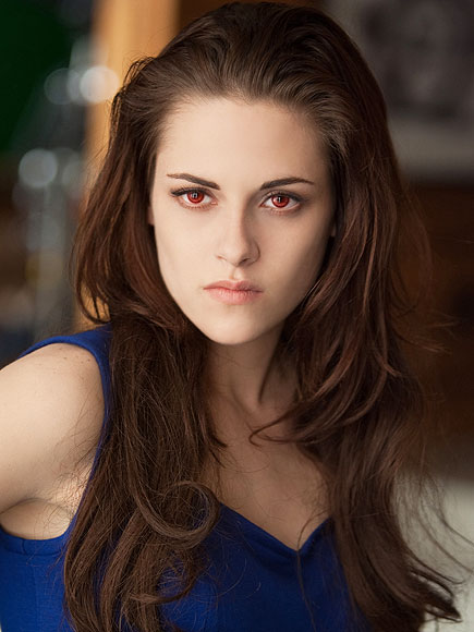 What color is Bella wearing at the end of Breaking Dawn – Part 1, when she wakes up as a vampire?