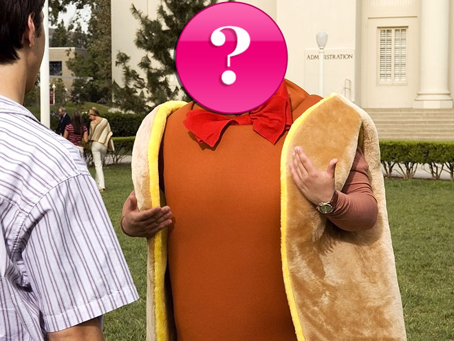 Who is this nominee, dressed in a hot-dog suit and shouting,
