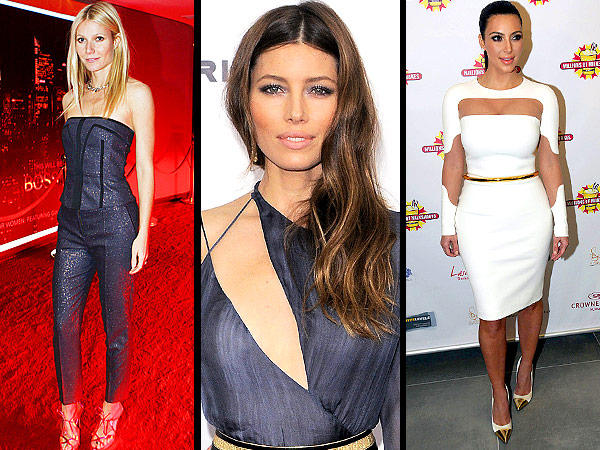 jessica biel 600x450 Red Carpet Trend Report: The Scoop on Matchy Matchy Looks, Side Swept Hair & Cut Out Overload